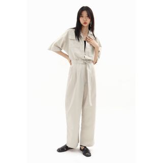 SIMPLY MOOD - Dolman-Sleeve Safari Jumpsuit with Belt