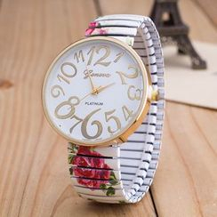 Cronos - Flower Print Strap Watch