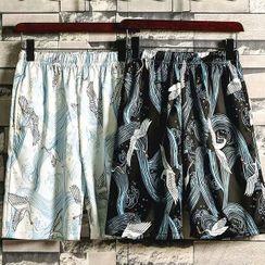 Cowpow - Crane Print Quick Dry Shorts