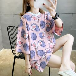 Jewie - Short-Sleeve Avocado Print Tunic T-Shirt