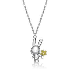 Kenny & co. - 925 Silver Rabbit C Chrysanthemum Pendant with Necklace