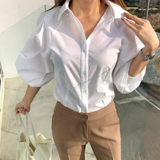DANI LOVE - Balloon-Sleeve Pintuck-Hem Shirt