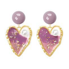 Cv Plus Design - Faux Pearl Resin Heart Dangle Earring