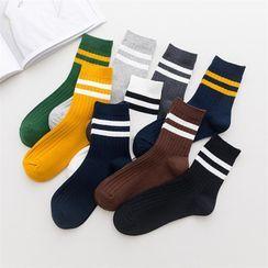 TAHLIA - Contrast-Trim Crew Socks