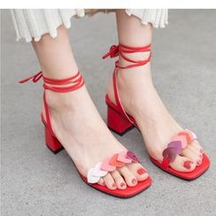 Freesia - Heart Strap Block Heel Sandals