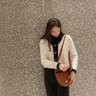 CHERRYKOKO - Embellished-Button Contrast-Trim Cardigan