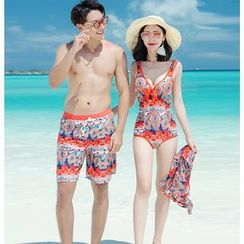 Higun - Couple Matching Bikini / Playsuit / Swim Trunks / Set