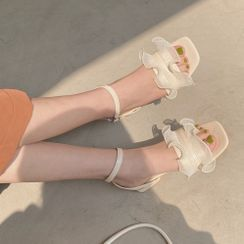 Queen Zoo - Ruffled Ankle-Strap Chunky-Heel Sandals
