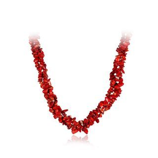 BELEC - Fashion Simple Irregular Red Coral Necklace