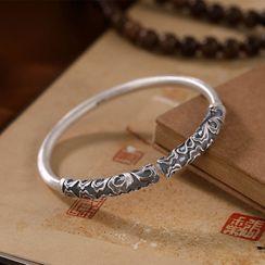 Andante - 999 Fine Silver Engrave Pattern Adjustable Bangle