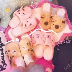 Bunfun - Chenille Pig Home Slippers
