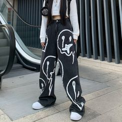 Porstina - Printed High-Waist Wide-Leg Jeans