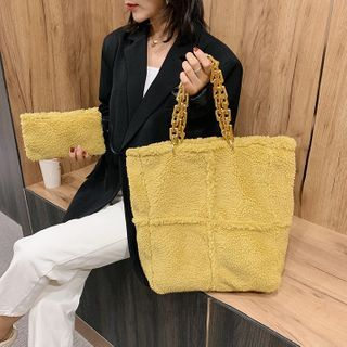 FAYLE - Chain Fluffy Tote Bag with Zip Pouch