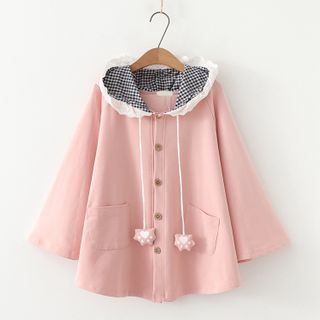 Angel Love - Buttoned Hooded Cape Coat