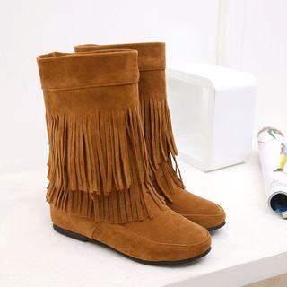 Kireina - 仿麂皮多层吊苏内增高短靴