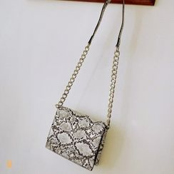 LIPHOP - Chain-Detail Flap Python Cross Bag