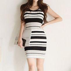 Yilda - 幼肩带条纹迷你针织连衣裙