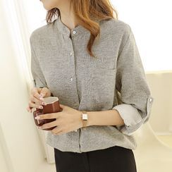 JUSTONE - Mandarin-Collar Tab-Sleeve Shirt