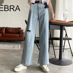 About a Girl - Washed Ripped Wide Leg Jeans