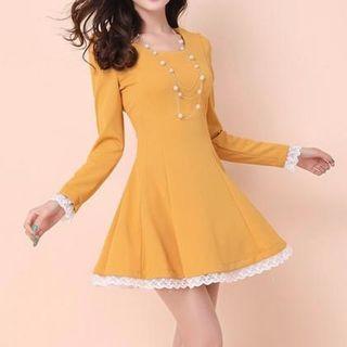 JVL - Long-Sleeved Lace Trim A-Line Dress