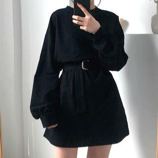 CosmoCorner - Long-Sleeve Mini Dress With Belt