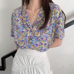 Allizzwell - Short-Sleeve Floral Print Shirt