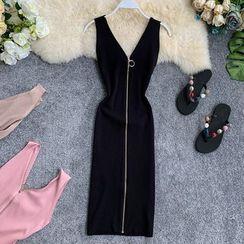 Lucuna - Sleeveless Zip Midi Knit Sheath Dress