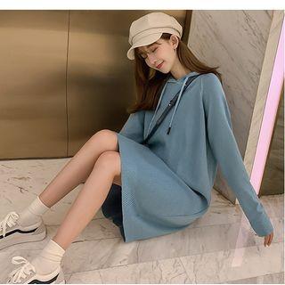 Dowisi - Midi Knit Hoodie Dress / Printed Cardigan