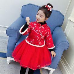 Qin Qin - 小童套装: 碎花毛边旗袍上衣 + A字网纱裙