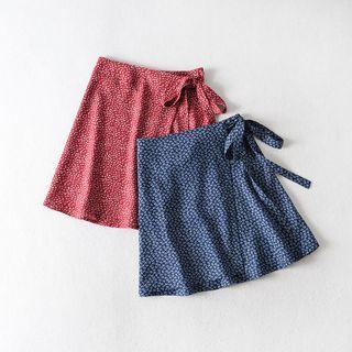 AMeow - Floral Print Mini A-Line Wrap Skirt
