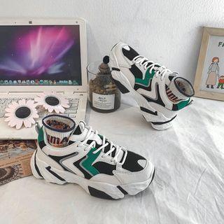 JIP(ジプ) - Contrast Color Platform Lace-Up Sneakers