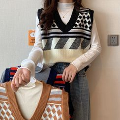 Sisyphi(シシピ) - Mock-Turtleneck Knit Top / Patterned Knit Vest