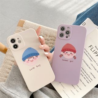 Cellisha - Couple Matching Cartoon Print Phone Case - iPhone 12 Pro Max / 12 Pro / 12 / 12 mini / 11 Pro Max / 11 Pro / 11 / SE / XS Max / XS / XR / X / SE 2 / 8 / 8 Plus / 7 / 7 Plus