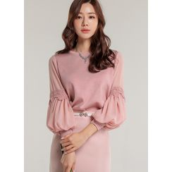 Styleonme - Chiffon Puff-Sleeve Laced Knit Top
