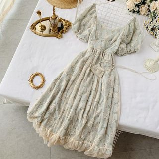 Lucuna - Short-Sleeve Lace-Overlay Floral Midi A-Line Dress