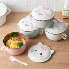 Home Affairs - Cat Print Stainless Steel Bowl with Lid