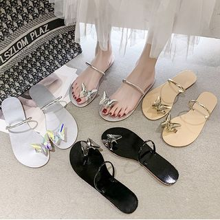 Chryse - Butterfly Applique Flat Slide Sandals