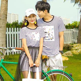 NoonSun - Couple Matching Striped Print Short-Sleeve T-Shirt / T-Shirt Dress