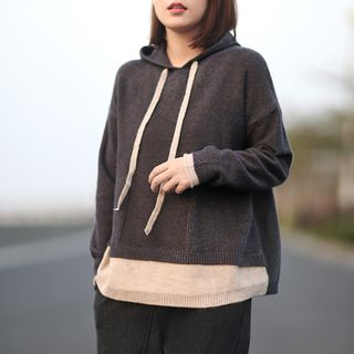 Canwe - Mock Two-Piece Knit Hoodie