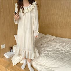 Noviril - Bell-Sleeve Lace Trim Midi Sleep Dress