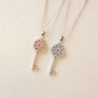 Jiniro - 925纯银水钻钥匙吊坠项链