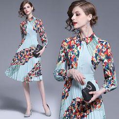 Yonna - Flower Print Accordion Pleat Chiffon Shirtdress