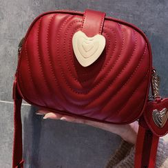 BeiBaoBao - Heart Faux Leather Crossbody Bag