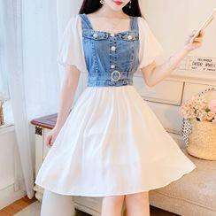 Petit Lace - 泡泡袖假两件牛仔拼接A字连衣裙