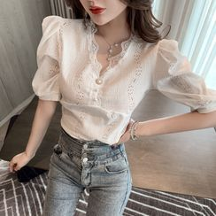 Ebonibean - Short-Sleeve Lace-Trim Blouse