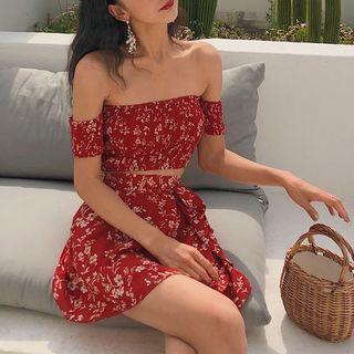 EROPIA - Set: Floral Print Off-Shoulder Crop Top + Mini Skirt