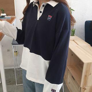 Dute - Color-Block Long-Sleeve Polo Shirt