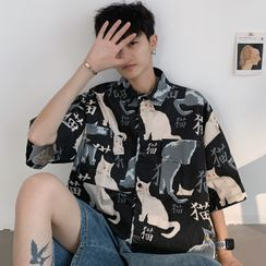 Nightbell - Cat Print Elbow-Sleeve Shirt