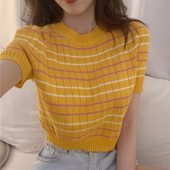 Rerise - Short-Sleeve Striped Knit Top