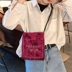 Milha - Letter Embroidered Velvet Crossbody Bag